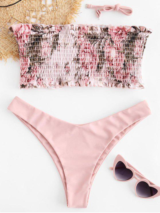 buy ZAFUL Floral Smocked Bandeau Bikini Set - LIGHT PINK S