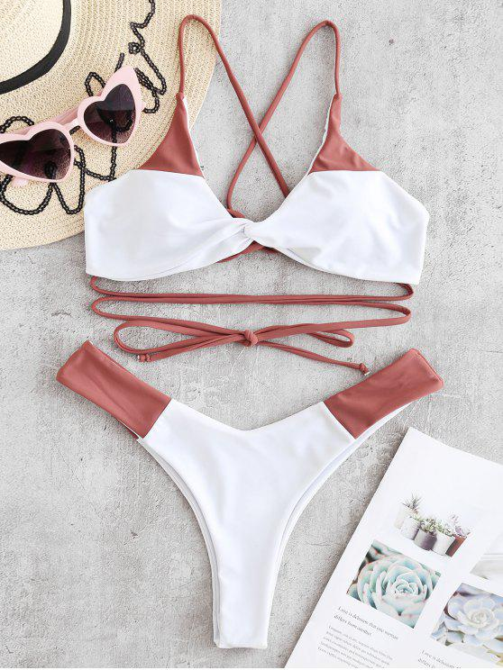 latest ZAFUL Lace-up Twist Two Tone Bikini Set - ROSY FINCH S