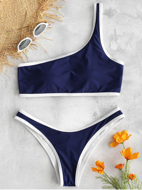 ZAFUL - Bikini-Set mit Kontrastbesatz und einer Schulter - Mitternacht Blau S