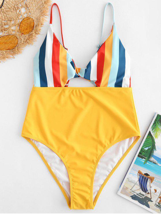 Swimsuit listrado colorido da torção do corte alto de ZAFUL - Borracha Ducky Amarela XL