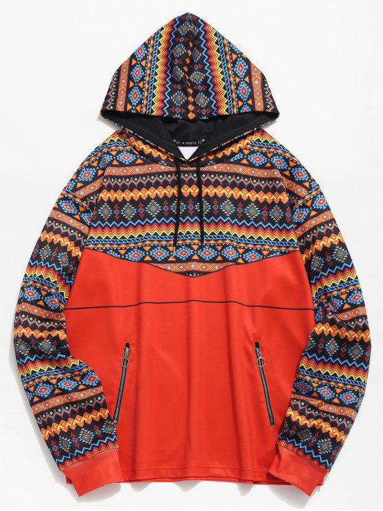 chic ZAFUL Ethnic Print Zip Pockets Hoodie - TANGERINE M