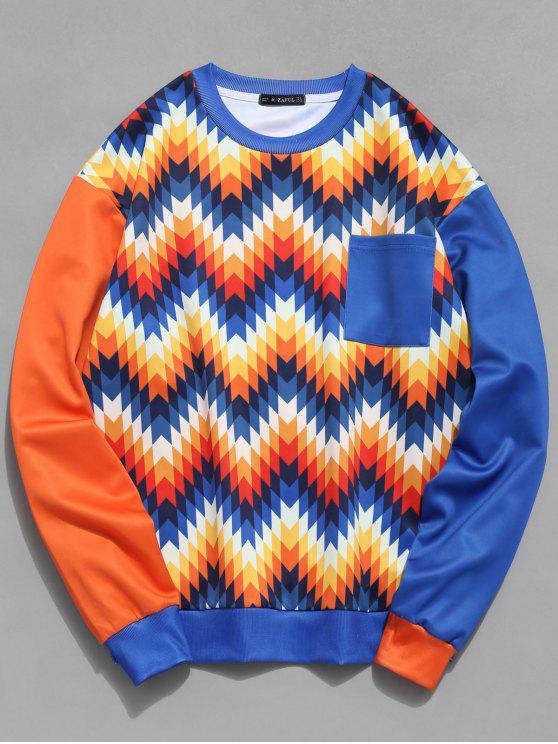 womens ZAFUL Ethnic Print Pocket Contrast Sweatshirt - MULTI M