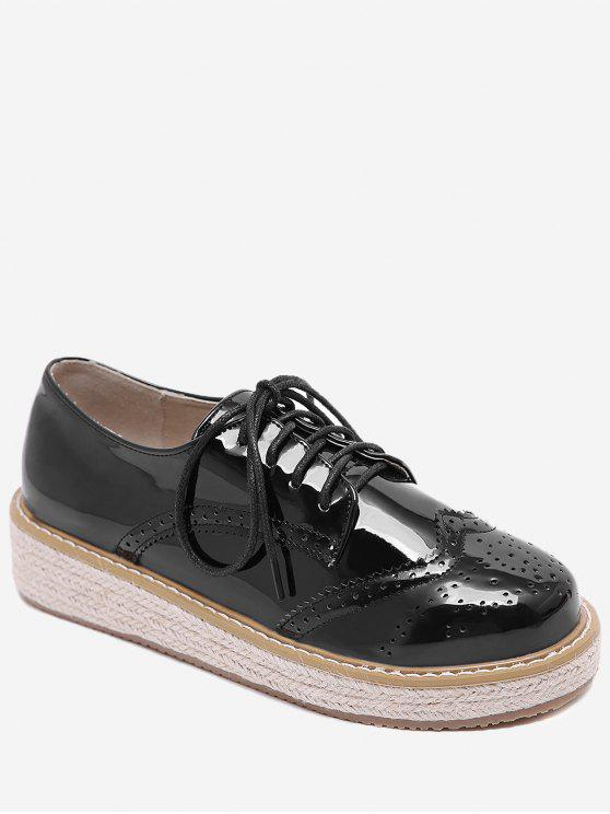 fancy Patent Leather Espadrilles Sewing Sneakers - BLACK 38