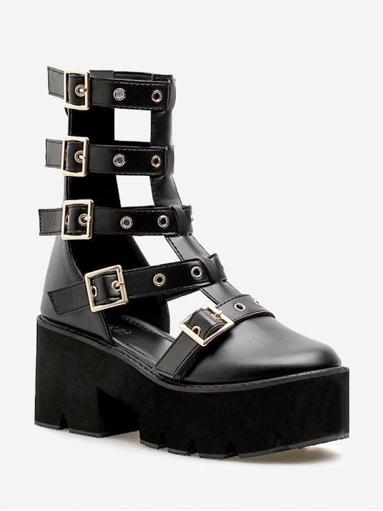 Sandalias de tacón grueso con hebilla de correa - Negro 38