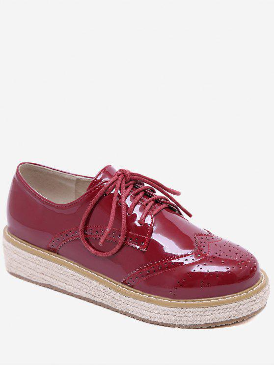 affordable Patent Leather Espadrilles Sewing Sneakers - CHESTNUT RED 36