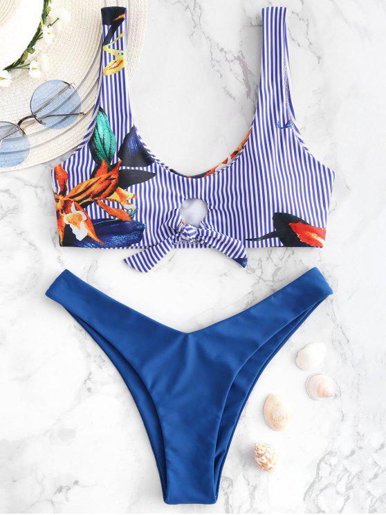 women ZAFUL Striped Plant Print Tank Bikini Set - BLUE EYES M