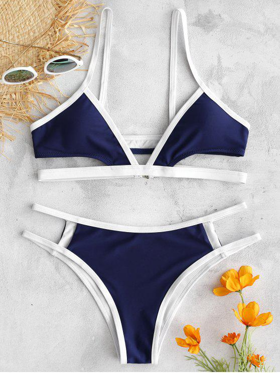 fancy ZAFUL Contrast Trim Cut Out Bikini Set - MIDNIGHT BLUE S