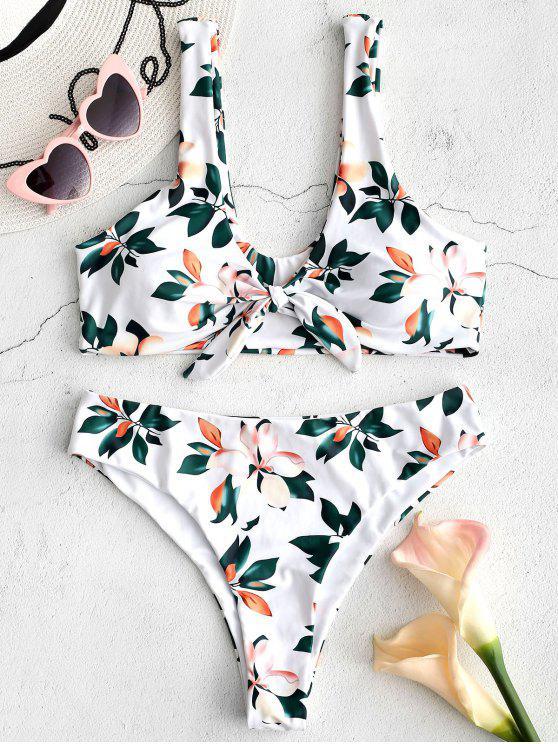 unique ZAFUL Knotted Floral Bikini Set - WHITE S