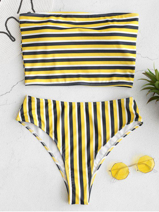 latest ZAFUL Striped Bandeau High Cut Bikini Set - MULTI S