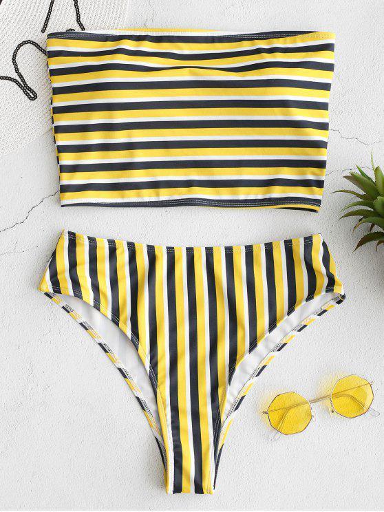 unique ZAFUL Striped Bandeau High Cut Bikini Set - MULTI L