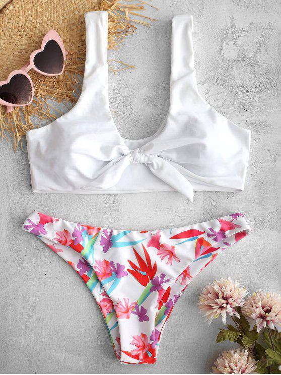 sale ZAFUL Knotted Flower Bikini Set - WHITE M