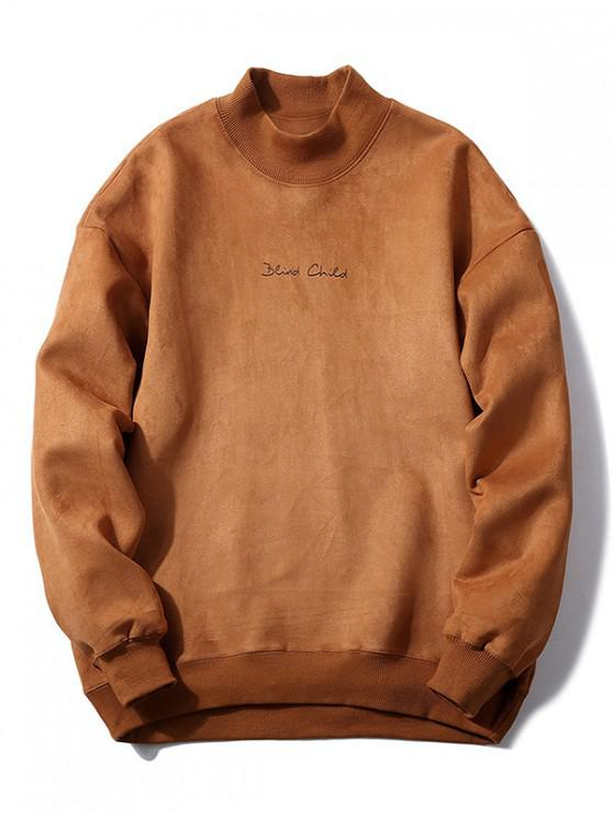 shops Chest Letter Print Solid Color Suede Sweatshirt - LIGHT BROWN XS