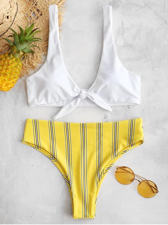 chic Tie Front Striped Bikini Set - BRIGHT YELLOW L