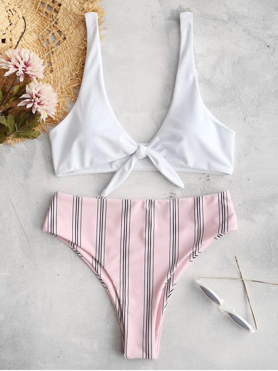 Tie Front Striped Bikini Set - وردي فاتح S