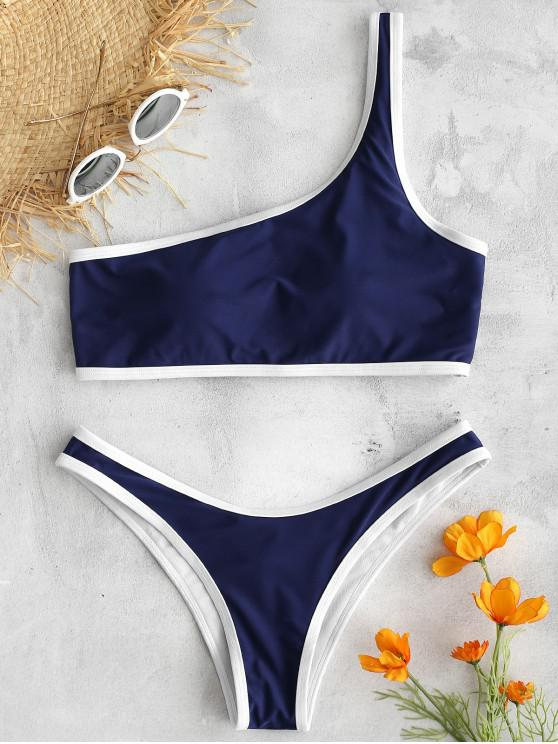unique ZAFUL Contrast Trim One Shoulder Bikini Set - MIDNIGHT BLUE S