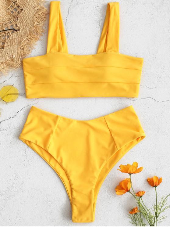 ZAFUL  Bikini-Set mit Quadratischem Ausschnitt und Hoher Taille - Helles Gelb L
