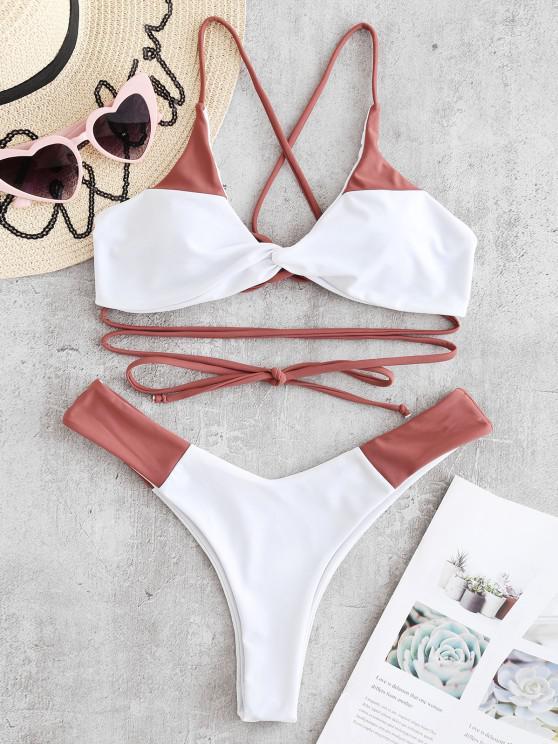Bikini Di ZAFUL Bicolore Con Lacci - Rose Finch L