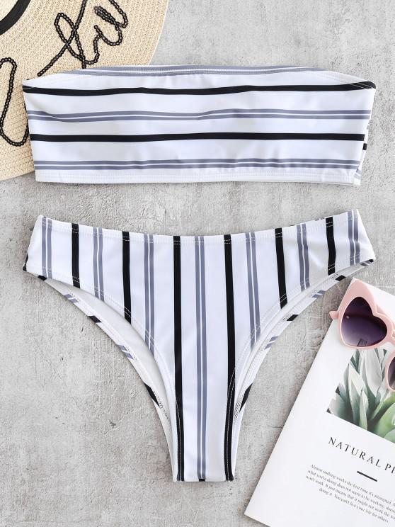 women's ZAFUL Stripe Padded Bandeau Bikini Set - WHITE M