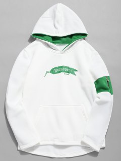Letter Print Contrast Color Hoodie - White L