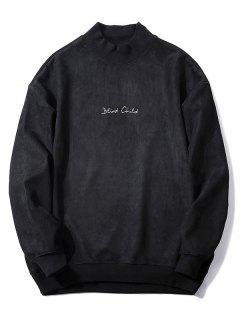 Chest Letter Print Solid Color Suede Sweatshirt - Black L
