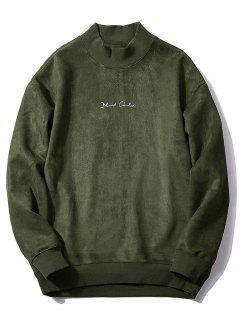 Chest Letter Print Solid Color Suede Sweatshirt - Army Green M