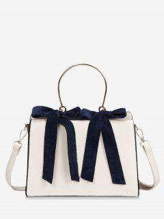 Bowknot Metal Handle Handbag - Beige