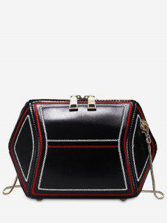 Geometric Shape Zip Crossbody Bag - Black