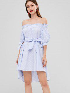 Striped High Low Off Shoulder Dress - Light Steel Blue L