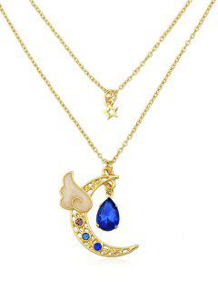 Collar De Cristal Artificial Layer Crescent Moon - Azul
