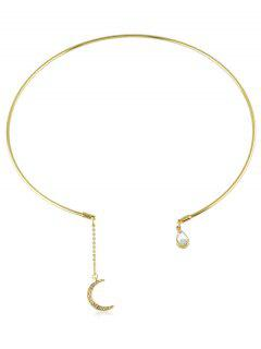 Teardrop Pendant Open Collar Necklace - Gold