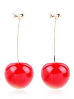 Pendientes De Gota De Cereza - Rojo De Rubí