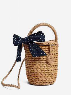 Straw Bowknot Outdoor Travel Tote Bag - Light Brown