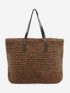 Minimalist Straw Braided Shoulder Bag - Brown