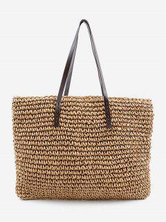 Minimalist Straw Braided Shoulder Bag - Apricot