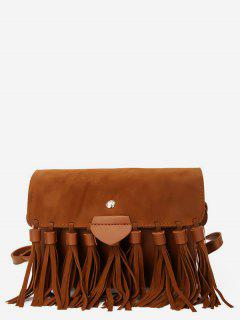 Tassel Suede Crossbody Bag - Brown