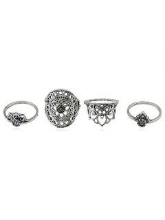 Rhinestone Hollow Flower Finger Rings Set - Silver One-size