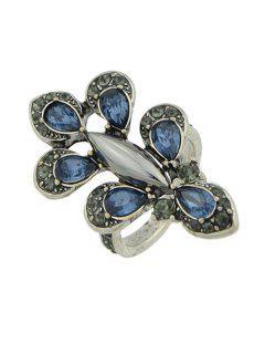 Anillo De Dedo De Diamantes De Lágrima En Forma De Lágrima - Azul Uno De Tamaño