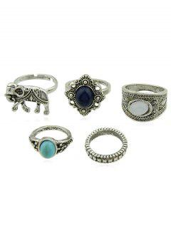 Artificial Gem Elephant Designed Finger Rings Set - Silver One-size