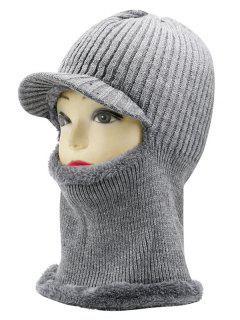 Sombrero De Máscara De Esquí De Rayas Al Aire Libre - Gris