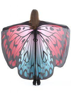 Vintage Butterfly Decorative Silky Shawl Scarf - Red Wine
