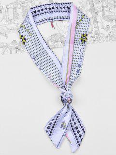 Bufanda Sedosa Floral Del Bolso De La Cinta De La Cinta De La Estrella Elegante - Blanco