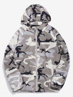 Camo Print Waterproof Hooded Jacket - Light Gray L