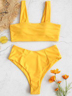 ZAFUL - Hochgeschlossenes Bikini-Set Mit Quadratischem Ausschnitt - Helles Gelb S