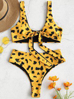 ZAFUL Leopard Tie Vorne Hoch Taillierte Bikini Set - Goldgelb L
