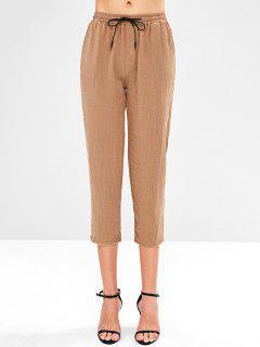 Side Pockets Jogging Pants - Camel Brown M
