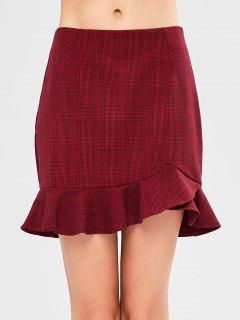 Ruffle Checked Mini Skirt - Red Wine M