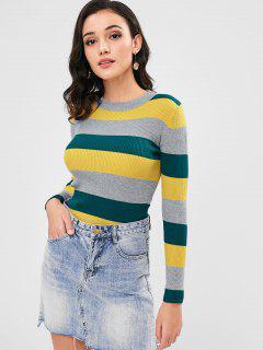 Stripe Bodycon Ribbed Sweater - Multi