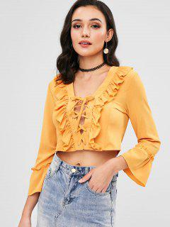 Ruffle Front Lace Up Crop Top - Yellow L