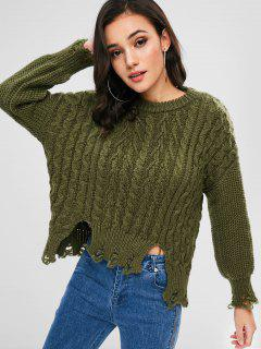 Cable Knit Distressed Drop Shoulder Jumper - Army Green