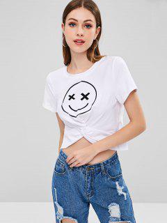 T-shirt Nombril Exposé Graphique Émoticône Imprimé - Blanc Xl